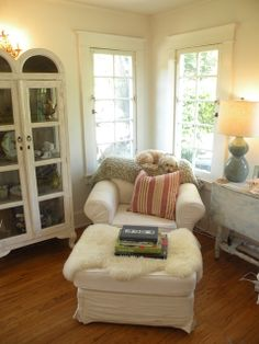 Cozy reading spot - great chair, curio cabinet, chippy drop-leaf table - love it!
