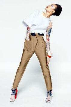 Editorial photographed by Mark Pillai, pleated pants with interesting waistband