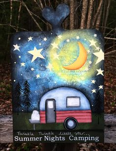 Camper sign, happy camper, hand painted camper decor, wood sign, summertime, vintage camper sign, camping, mixed media, nature, ctsofg - pinned by pin4etsy.com