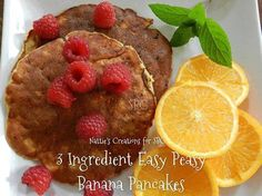 """3 Ingredient Easy Peasy Banana Pancakes- Gluten FREE!   Makes approx. 4-6 """"small size"""" pancakes"""