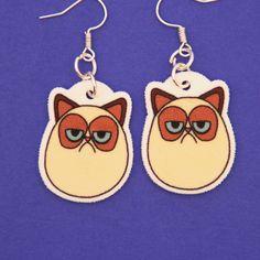 Grumpy Cat Inspired Earrings. $6.00, via Etsy.