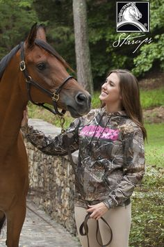 Camo and hot pink - perfect combo for our Camo Horses hoodie! Find it at your local tack shop! www.stirrupsclothing.com