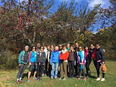 Houstonian club members ending their Forest Bathing journey at Kripalu's apple grove. #yoga #retreat #om
