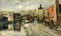 """Miami Canal, Cincinnati,"" John Twachtman, 1874, oil on canvas, 13.5 x 23.63"", Philbrook Museum of Art."