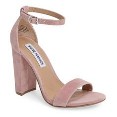 Women's Steve Madden Carrson Sandal (290 PEN) ❤ liked on Polyvore featuring shoes, sandals, mauve suede, mauve sandals, steve madden sandals, steve madden shoes, chunky-heel sandals and wide heel shoes