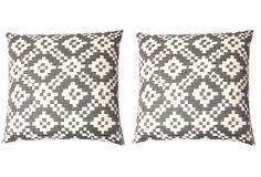 S/2 Lex 20x20 Cotton Pillows, Gray on OneKingsLane.com