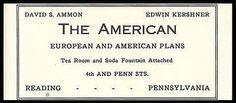 American Hotel Ad Reading Pennsylvania Turnpike 1926 Tea Room Soda Fountain