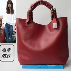 a29b6bd4a0 Barato Mulheres bolsas de couro mulheres sacos balde bolsa de ombro  ocasional saco de couro bolsa