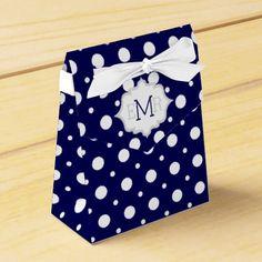 Navy blue white polka dot pattern monogram wedding favor box
