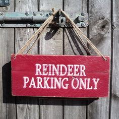 TRADITIONAL Shabby Chic Christmas Sign 'Reindeer Parking Only', by Vintage Wooden Wall Art