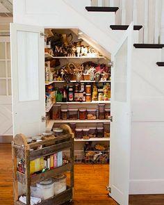 21 Best Hidden Storage Ideas, Stairs, Kitchens, Bathrooms Stairs In Kitchen, Real Kitchen, Kitchen Reno, Kitchen Remodel, Pantry Design, Storage Design, Storage Ideas, Storage Systems, Food Storage