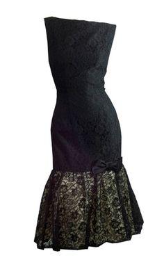 Elegant Black Lace Mermaid Hem Cocktail Dress circa 1960s - Dorothea's Closet Vintage