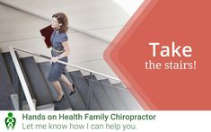 Most of us have been conditioned to head straight for the elevator or escalator - try to break out of that habit by detouring for the stairs instead! Those little bursts of working out all add up! How often do you have the opportunity to take the stairs? #chiropractic #wellness #eatwell #healthyliving Chiropractic Clinic, Family Chiropractic, Take The Stairs, Holistic Approach, Eating Well, Workout, Health, Health Care, Work Out