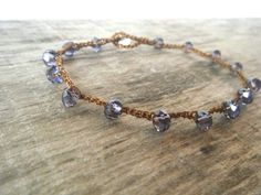 Forget Me Not -Boho Luxe Crystal Anklet- Amethyst purple on brown