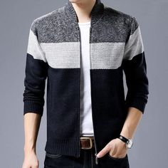New Fashion Brand Clothing Jacket Men Casual Mandarin Collar Mens Coat Gradient knitting Zippers Mens Jackets And Coats - Men Jackets - Ideas of Men Jackets Fashion Brand, New Fashion, Fashion Outfits, Men's Outfits, Knit Jacket, Leather Jacket, Jacket Men, Outfit Hombre Casual, Men With Street Style