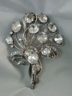 Vintage Eisenberg Sterling Silver Rhinestone Fur Clip Brooch - Large