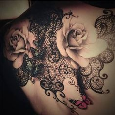 Realistic 3D Flower Tattoo With Butterfly   Tattooshunter.com