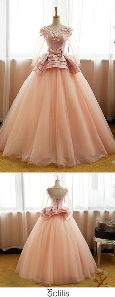 Vintage Pink Flower Long Sleeves Puffy Tulle Long Quinceanera Dress Prom Dresses UK JS428, This dress could be custom made, there are no extra cost to do custom size and color