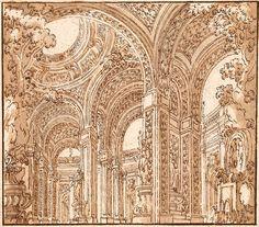 Antonio Galli Bibiena | 1700-1774 | Atrium with Columns and Foliage | The Morgan Library & Museum
