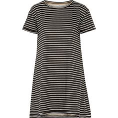 Current/Elliott - The Knit Tee Striped Cotton Mini Dress ($62) ❤ liked on Polyvore featuring dresses and black