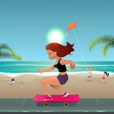 #Skater #Girl - People #Characters Download here: https://graphicriver.net/item/skater-girl/19341030?ref=alena994