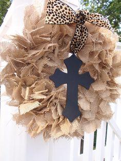 Medium Burlap Wreath Shabby Wedding Nursery Decor in Natural Color with Black Wood Cross & Leopard / Cheetah Print Ribbon: Can be Customized. $27.00, via Etsy.