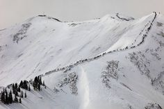 The march up to the top of Aspen Highland's Bowl to rip some fresh tracks!!