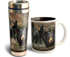 American Expedition Black Bear Collage Home & Away Stoneware/Steel Mug Set - American Expedition