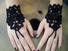 Goth black  Crochet Lace Gloves Arm Cuff Romantic by bosphorusshop, $15.00
