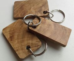 Wooden keyring Oblong Oak Key Rings Key ring by CottageCoppicing