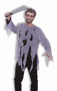 Tattered Scary Zombie Costume Shirt - This zombie shirt will help you haunt the neighbourhood during Halloween. This is a one piece black long sleeved shirt with a grey mesh torn and tattered overlay. Great for Halloween, night of the living dead and Zombie walks. #zombie #yyc #costume