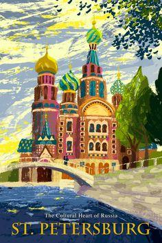 St. Petersburg Travel poster.  by Michael Crampton