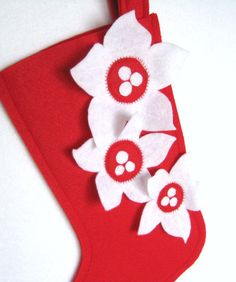 Pointsettia  2013 Edition Christmas Stocking by stitcholicious, $18.00