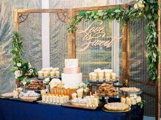Navy Blue and Gold Wedding Cake and Dessert Table https://www.thecelebrationsociety.com/weddings/personalized-navy-blue-winter-wedding-powel-crosley-estate-sarasota-fl/