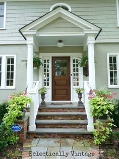 100 Year Old House Front Porch - Love the steps with brick on the risers and slate/stone on the steps.  And of course Im in LOVE with the front door!!