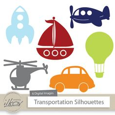 This is a set of 6 professionally designed, high quality digital images. Theyre in a fun transporation theme. Includes a rocket silhouette, airplane