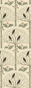 "{CFA Voysey c 1895 via Trustworth}  Flat pattern reduced to a sophisticated simplicity, ""Rook and Holly"" was selected by Voysey for his own children's room. Three rather expectant black birds in a winter bare tree combined with holly sprigs ... a gift for any room!"