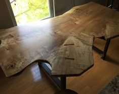 Figured Crotch Maple Live Edge Slab Table #ad