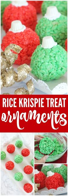 Rice Krispie Treat Ornaments Recipe! A fun Holiday Snack or Treat Recipe for Christmas that Kids will LOVE! #christmasrecipes #holidays #christmastreats #christmas