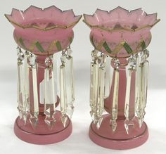 A pair of Bristol glass lustres having enamel and gilt decoration with flaring crystal prisms terminating in arrowheads, Englannd, circa 1870