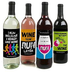 Set The Pace - Running - Wine Bottle Gift Labels - Track, Cross Country or Marathon Party Wine Bottle Label Stickers - Set of 4
