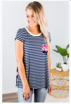 """Shop new arrivals at Beautique! Use the code """"aubree10"""" at checkout and get 10% off your order every time you purchase!  #summer #summerfashion #womensfashion #shopsmall #clothes #floral #tee #stripes Online Boutiques, Trendy Fashion, Top Rated, Tunic Tops, Stripes, Chic, Carry On, Denim, Shabby Chic"""