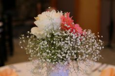 This is one of my center piece bouquets. Gysophilis and Peonies Roses