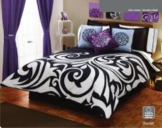 Black and White comforters can easily recreate your entire bedroom. Add the classic look of black and white prints to your bedroom with black...