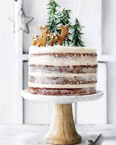 Hazelnut and brandy forest cake with cream cheese icing Want to bring a fun, festive treat to Christmas this year? Try Donna Hay's hazelnut and brandy forest cake with cream cheese icing recipe. Xmas Food, Christmas Sweets, Christmas Cooking, Noel Christmas, Christmas Cakes, Magical Christmas, Holiday Cakes, Christmas Birthday Cake, Xmas Cakes