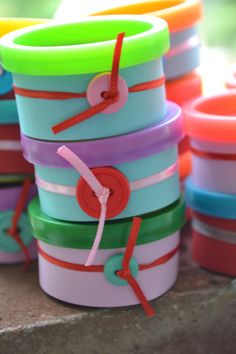 """Play Doh favors for """"Cute as a Button"""" party"""