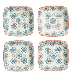 One Kings Lane - Playful Pieces - S/4 Blue d'Chine Square Plates