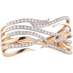 Pre-owned 1.28ctw Two Finger Diamond Ring ($2,300) ❤ liked on Polyvore featuring jewelry, rings, rose diamond ring, two finger diamond ring, 18k ring, double-finger ring and 18 karat gold ring