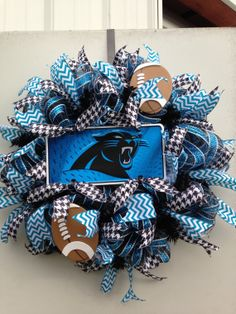 Carolina Panthers Wreath by CountyLineCreations3 on Etsy, $75.00