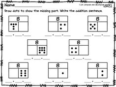 part + part = whole Dominos math sheet, blank. Number line